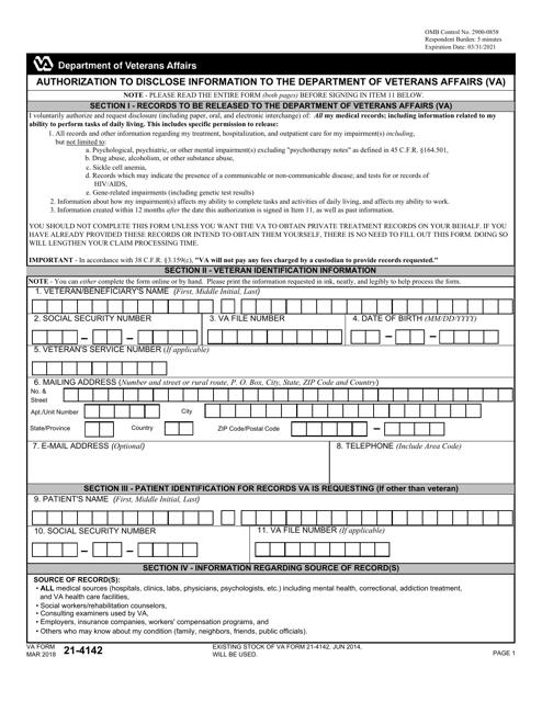 VA Form 21-4142 Fillable Pdf