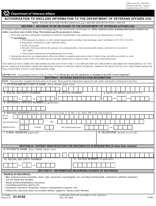VA Form 21-4142 Printable Pdf