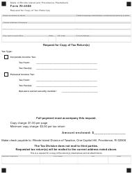 Form RI-4506 Request for Copy of Tax Return(S) - Rhode Island