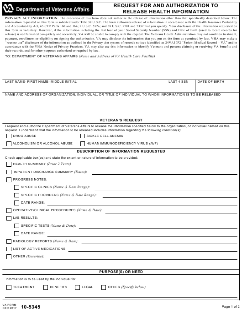 VA Form 10-5345  Printable Pdf