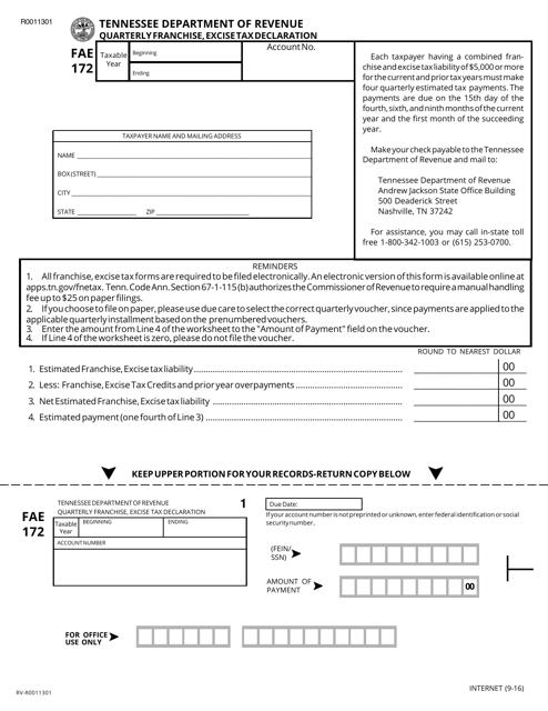 Form FAE 172 Printable Pdf