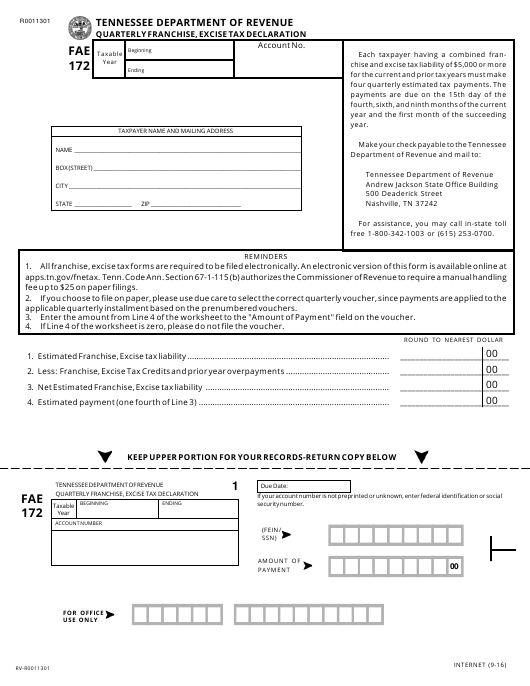 Form FAE 172 Printable Pdf