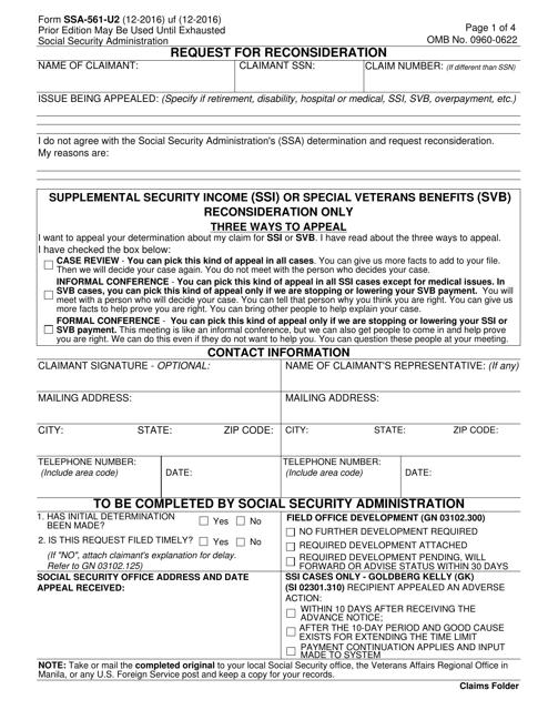 Form SSA-561-U2 Fillable Pdf