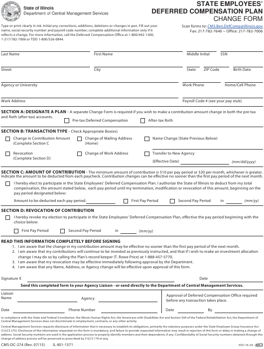 Form CMS-DC-274 Printable Pdf