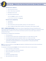 Form L-8 Affidavit for Non-real Estate Investments: Resident Decedents - New Jersey