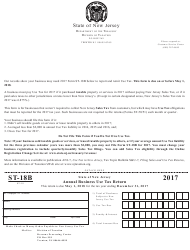 Form ST-18B 2017 Annual Business Use Tax Return - New Jersey