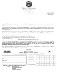 Form ST-18B 2017 Annual Business Use Tax Return - New Jersey