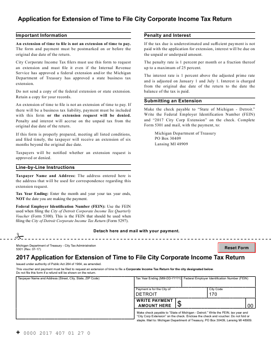 """""""Application for Extension of Time to File City Corporate Income Tax Return"""" - City of Detroit, Michigan Download Pdf"""
