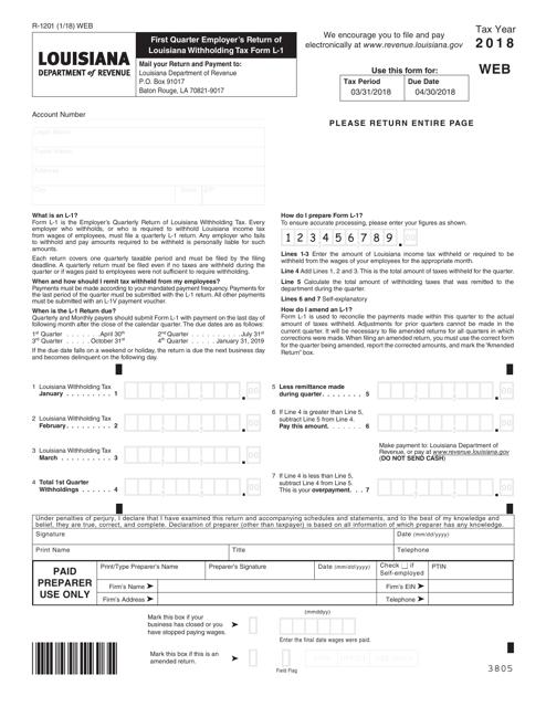 Form R-1201 2018 Printable Pdf