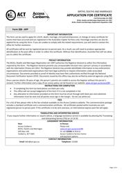 "Form 208 ""Application for Certificate"" - Canberra, Australian Capital Territory, Australia"