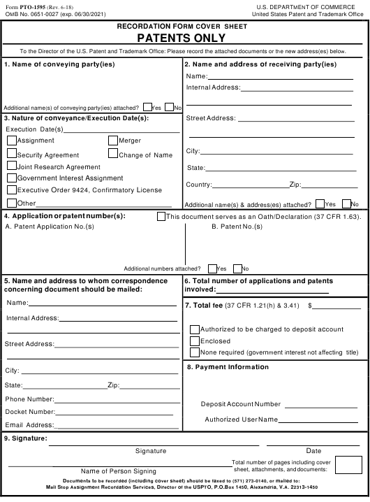 Form PTO 1595 Recordation Cover Sheet