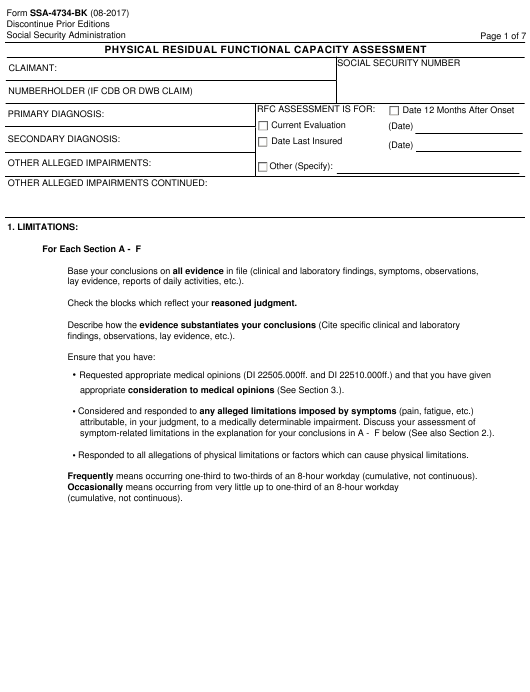 Form SSA-4734-BK Fillable Pdf