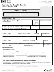 "Form SC ISP-1151 ""Application for Disability Benefits Canada Pension Plan"" - Canada"