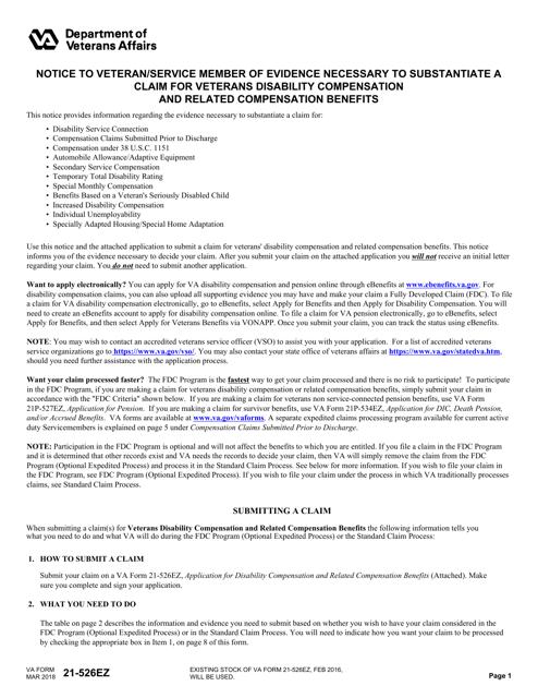 VA Form 21-526EZ Fillable Pdf