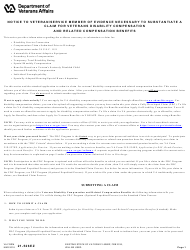 VA Form 21-526EZ Notice to Veteran/Service Member of Evidence Necessary to Substantiate a Claim for Veterans Disability Compensation and Related Compensation Benefits