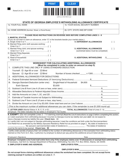 Form G-4  Printable Pdf