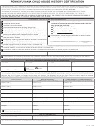 "Form CY113 ""Pennsylvania Child Abuse History Certification"" - Pennsylvania"