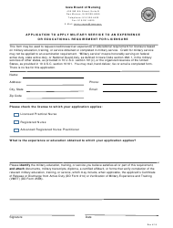 Application to Apply Military Service to an Experience or Educational Requirement for Licensure - Iowa