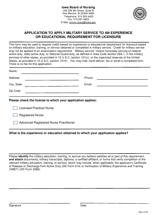 Application to Apply Military Service to an Experience or Educational Requirement for Licensure - Iowa Download Pdf