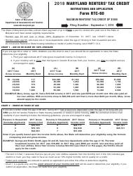 Form RTC-60 2018 Renters' Tax Credit Application - Maryland, Page 2