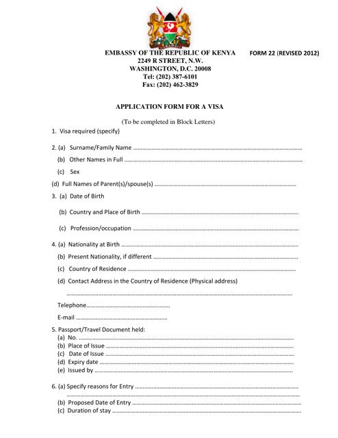 Form 22  Fillable Pdf