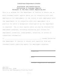 "Form DOJ-555 ""Disclosure and Authorization Pertaining to Consumer Reports Pursuant to the Fair Credit Reporting Act"""