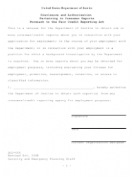 Form DOJ-555 Disclosure and Authorization Pertaining to Consumer Reports Pursuant to the Fair Credit Reporting Act