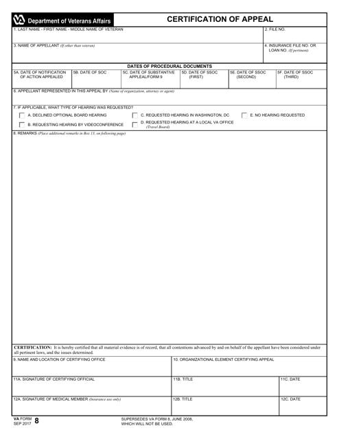 VA Form 8 Fillable Pdf