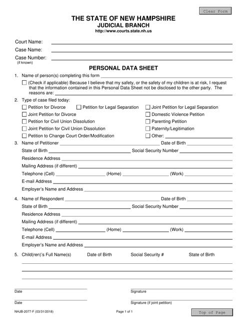 Form NHJB-2077-F  Printable Pdf