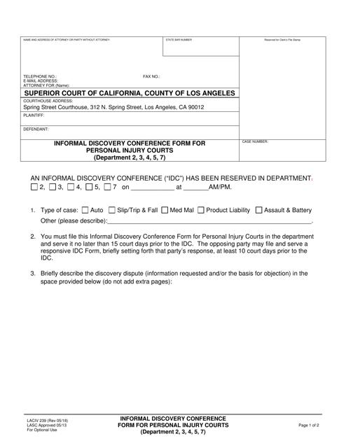 Form LACIV239  Printable Pdf