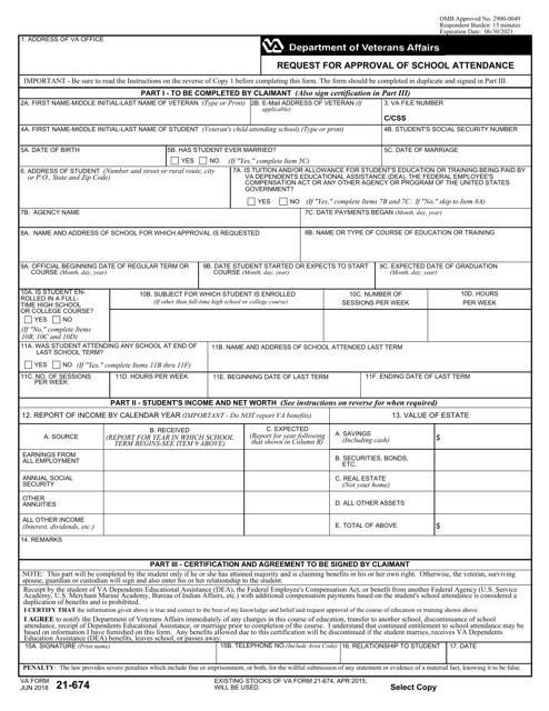 VA Form 21-674 Printable Pdf