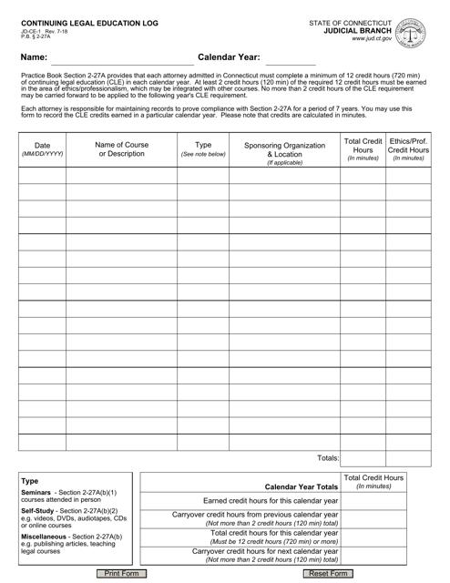 Form JD-CE-1  Printable Pdf