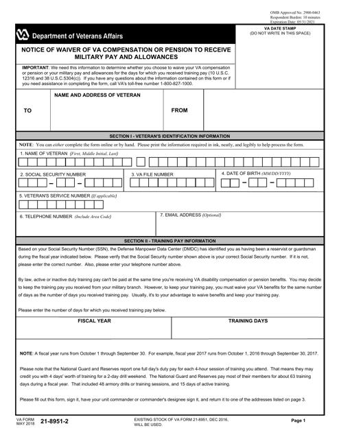 VA Form 21-8951-2  Printable Pdf