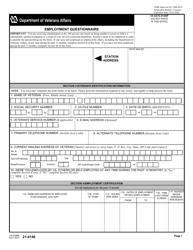VA Form 21-4140 Employment Questionnaire