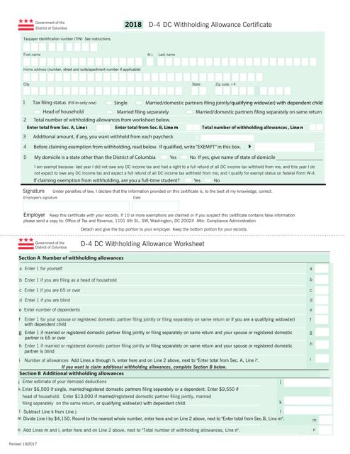 Form D-4 2018 Printable Pdf