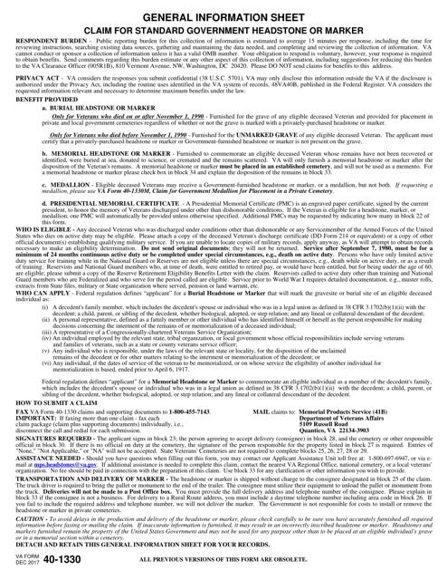 VA Form 40-1330 Fillable Pdf