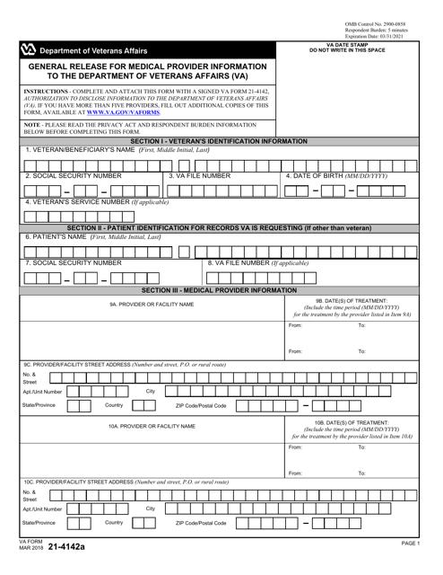 VA Form 21-4142A  Printable Pdf