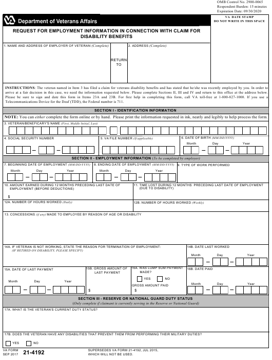 VA Form 21-4192 Fillable Pdf