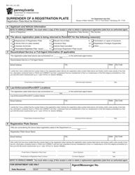 Form MV-141 Surrender of a Registration Plate - Pennsylvania