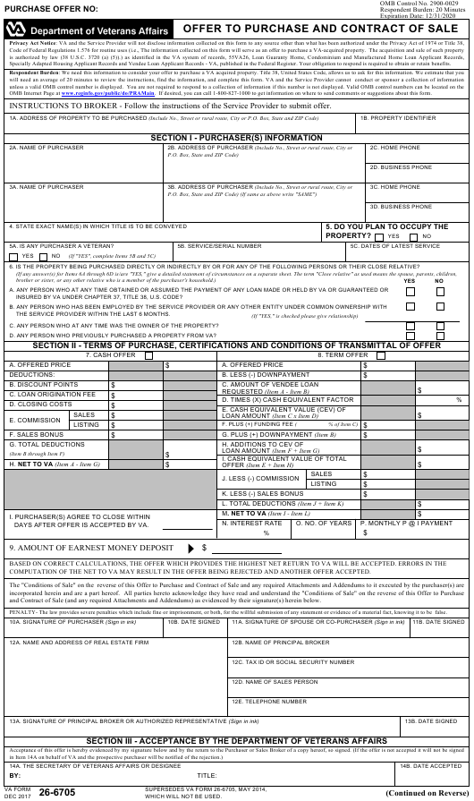 VA Form 26-6705  Printable Pdf