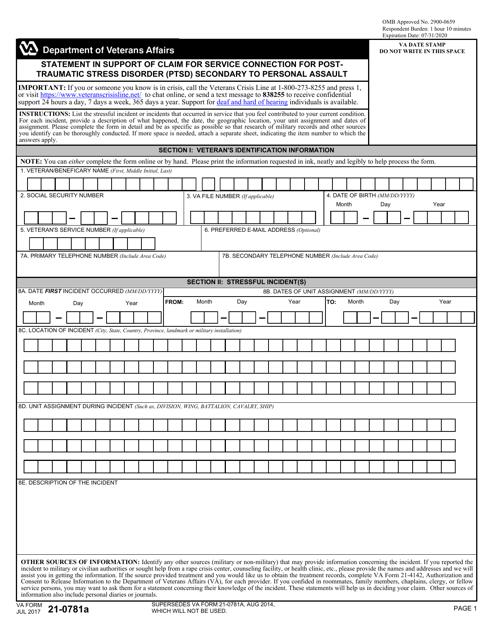 VA Form 21-0781A Fillable Pdf