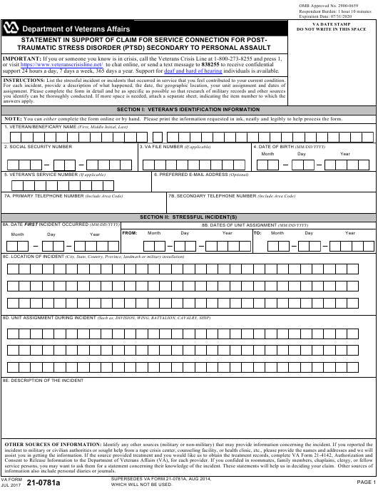 VA Form 21-0781A Download Fillable PDF, Statement in Support of