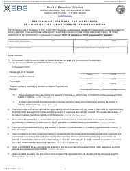 """Form 37A-523 """"Responsibility Statement for Supervisors of a Marriage and Family Therapist Trainee or Intern"""" - California"""