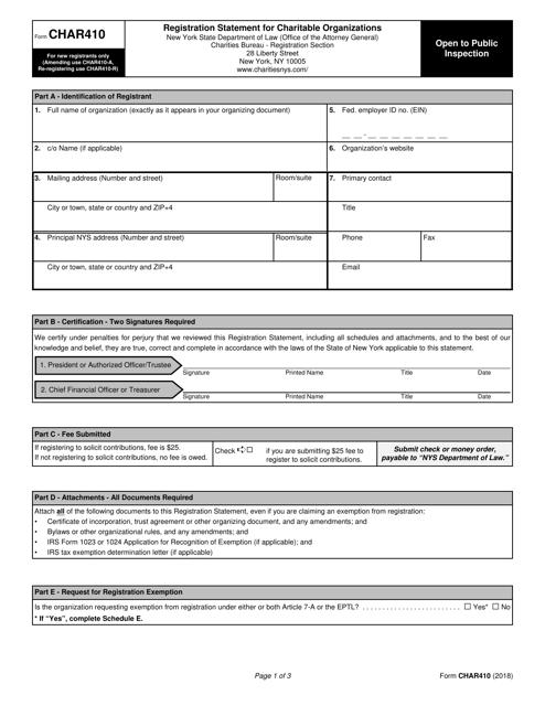 Form CHAR410 Printable Pdf
