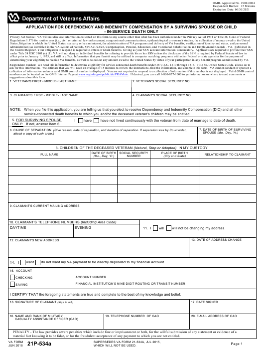 VA Form 21P-534A Printable Pdf