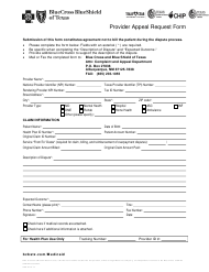 "Form SCP-9110-17 ""Provider Appeal Request Form - Bluecross Blueshield of Texas"" - Texas"
