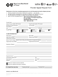 Form SCP-9110-17 Provider Appeal Request Form - Bluecross Blueshield of Texas - Texas