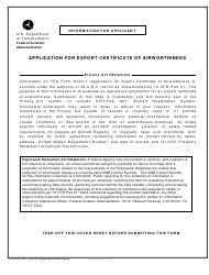 FAA Form 8130-1 Application for Export Certificate of Airworthiness