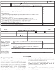 Form WT-4A 2018 Worksheet for Employee Witholding Agreement (W-234) - Wisconsin