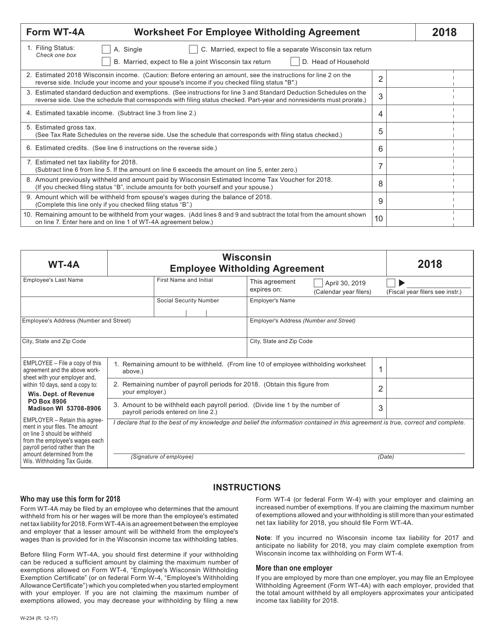 Form WT-4A 2018 Printable Pdf